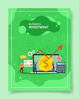Pessoas de investimento em negócios ficam na frente do gráfico de apresentação do grande laptop, cartaz.