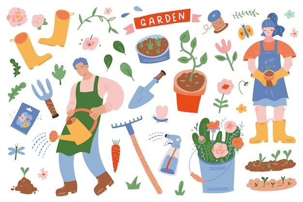 Pessoas de jardinagem cercado por ferramentas e plantas de jardim