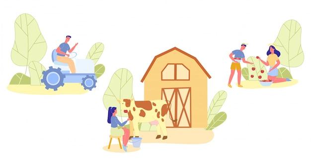 Pessoas de jardinagem, colheita, condução conjunto de trator