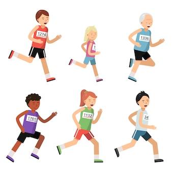 Pessoas de maratona de corrida de diferentes idades