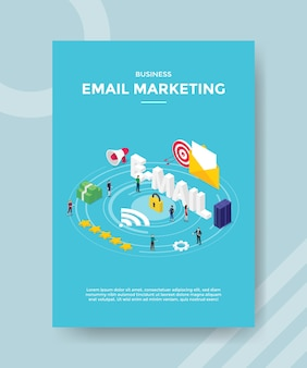 Pessoas de marketing de e-mail empresarial em pé e-mail texto cadeado servidor dinheiro para modelo de banner e folheto