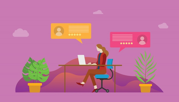Pessoas de mulher de chat ao vivo na frente do laptop