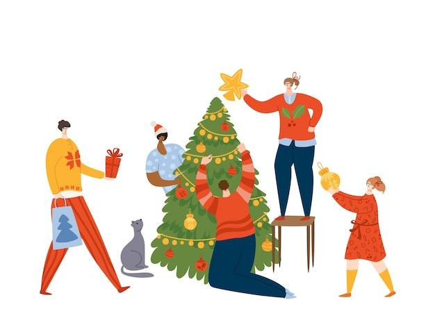Pessoas de natal, amigos ou família, decorando a árvore de natal com guirlanda