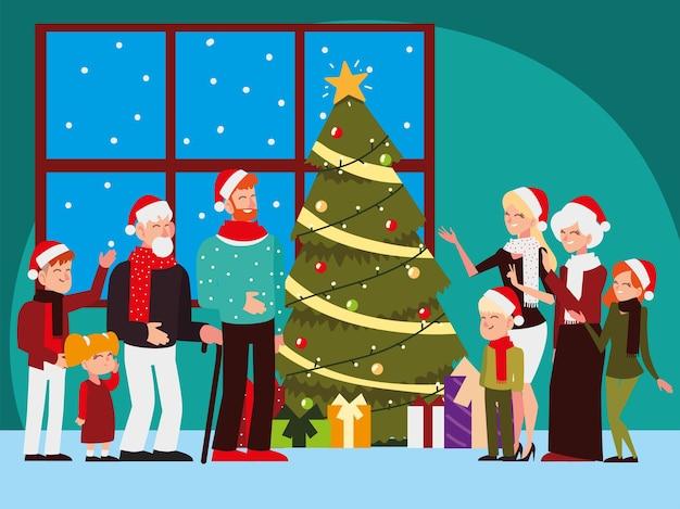 Pessoas de natal, grande família com decoração de luzes de árvore comemorando ilustração de festa de temporada