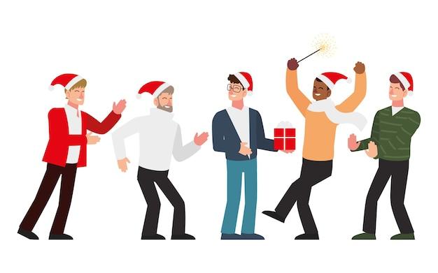 Pessoas de natal, temporada de grupos masculinos comemorando com presente e ilustração de fogos de artifício
