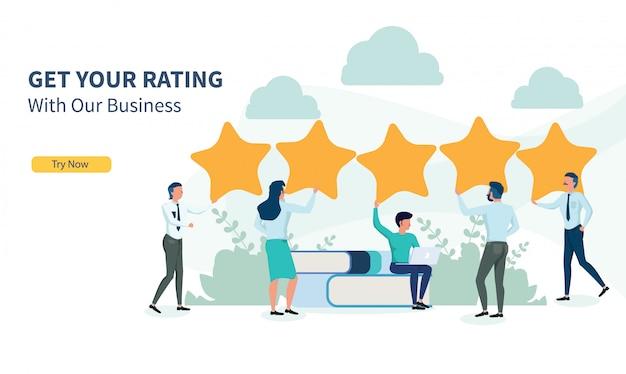 Pessoas de negócios à procura de classificação com design plano e landing page