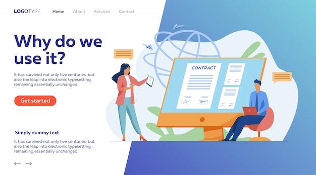 Pessoas de negócios, assinando contrato on-line com sinal eletrônico