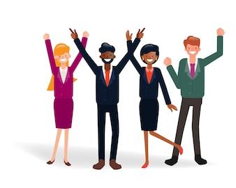 Pessoas de negócios bem sucedido trabalho em equipe corporativa.