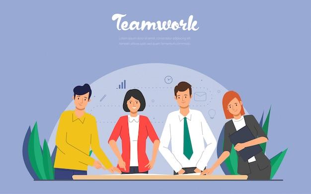 Pessoas de negócios caracterizam o trabalho em equipe para o trabalho de processamento.