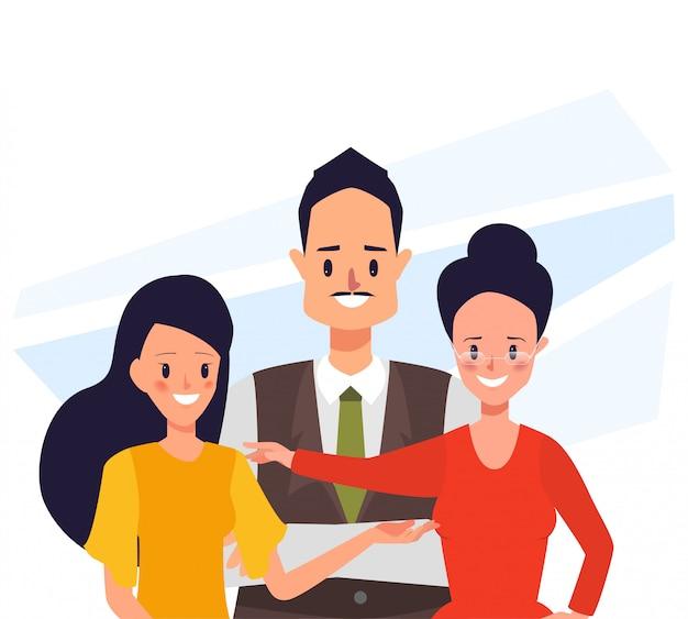 Pessoas de negócios caracterizam o trabalho em equipe.