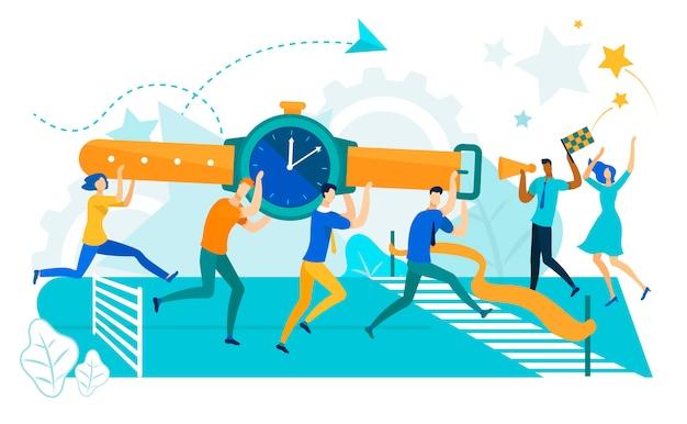 Pessoas de negócios, carregando o relógio para a linha de chegada.