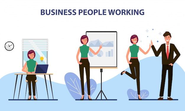 Pessoas de negócios colega trabalho em equipe escritório personagem.
