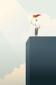 Pessoas de negócios com a bandeira em pé no topo do gráfico de barras sobre objetivos, sucesso.