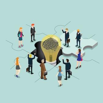 Pessoas de negócios com a idéia de quebra-cabeça criativa