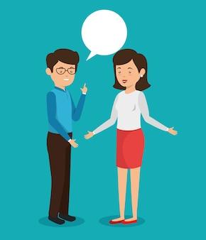 Pessoas de negócios com comunicação de bolhas de discurso