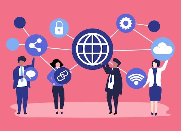 Pessoas de negócios com ícones de conexão
