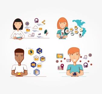 Pessoas de negócios com ícones de mídia social