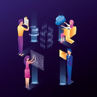 Pessoas de negócios com ícones de rede do centro de dados
