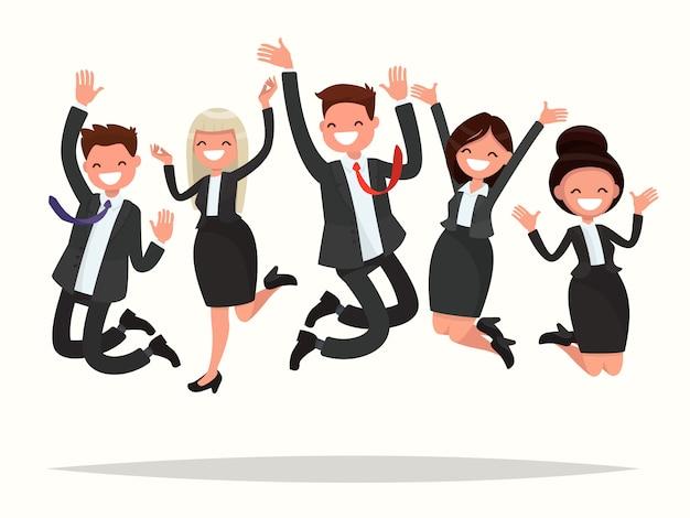 Pessoas de negócios comemorando uma vitória saltam sobre uma ilustração de fundo branco