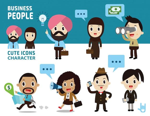 Pessoas de negócios corpo inteiro isolado no fundo branco e azul.