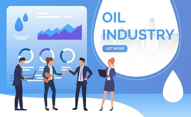 Pessoas de negócios de indústria de petróleo trabalhando e negociando, diagramas