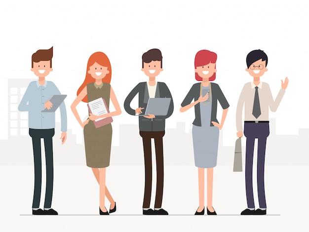 Pessoas de negócios de trabalho em equipe, caractere em grupo.