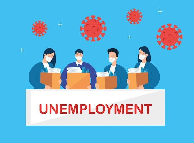 Pessoas de negócios desempregadas por causa de uma pandemia