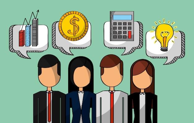 Pessoas de negócios dinheiro gráfico calculadora e idéia