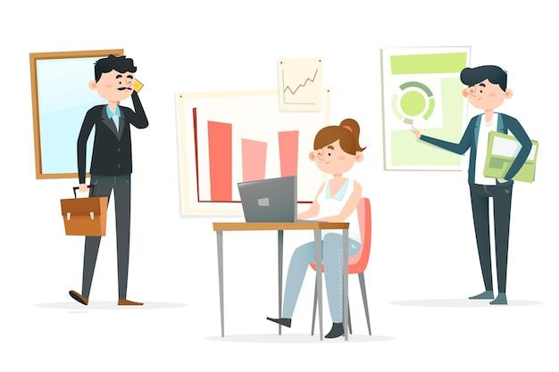 Pessoas de negócios, discutindo estatísticas