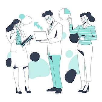 Pessoas de negócios, discutindo gráficos