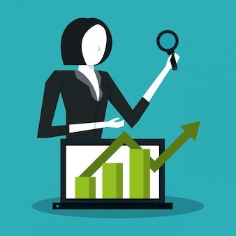 Pessoas de negócios e estatísticas