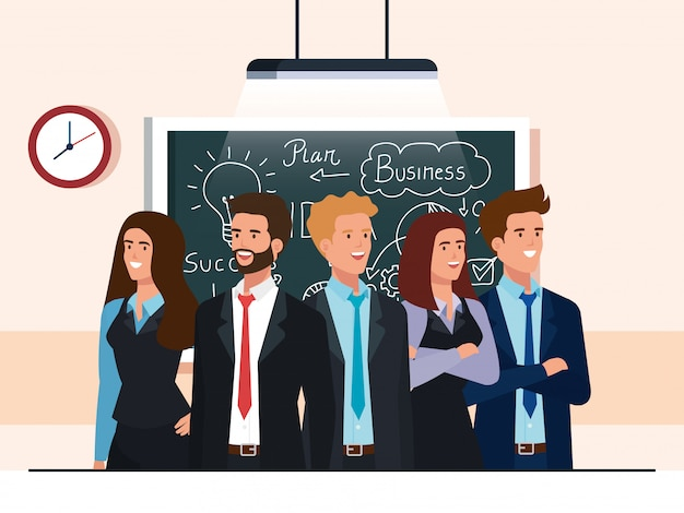 Pessoas de negócios e lousa com gráficos de plano de negócios