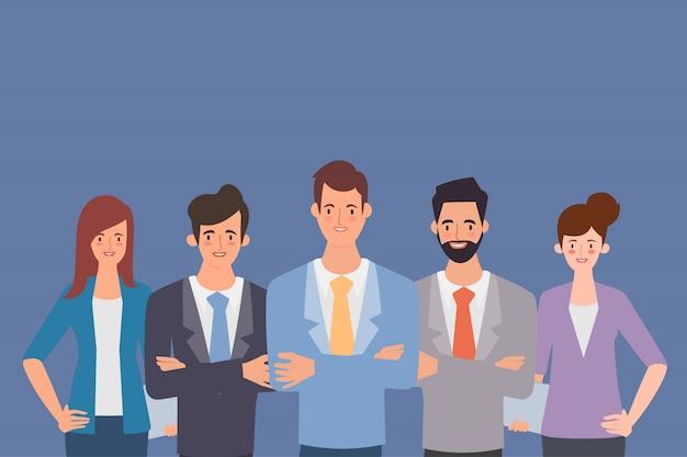 Pessoas de negócios em caráter de grupo de trabalho em equipe.