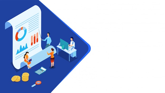 Pessoas de negócios em miniatura 3d mantêm os dados, relatório e moedas para análise de dados.