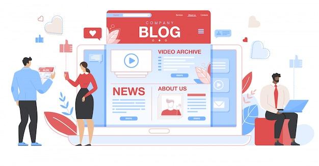 Pessoas de negócios em torno do tablet enorme com a página do blog