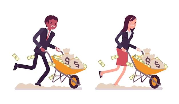 Pessoas de negócios, empurrando o carrinho de mão cheio de dinheiro