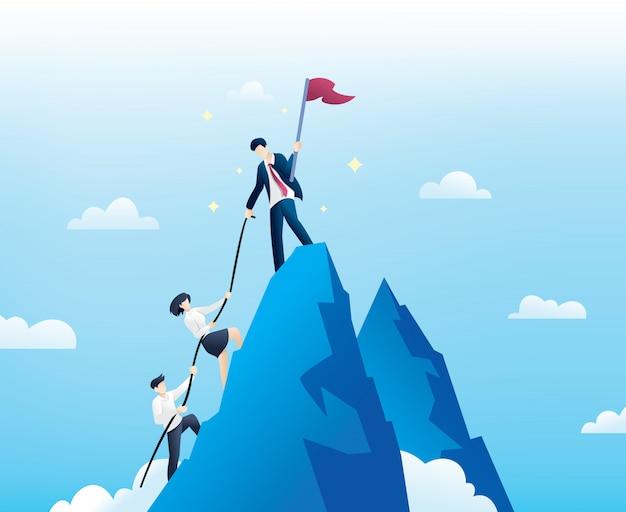 Pessoas de negócios escalam até o topo da montanha