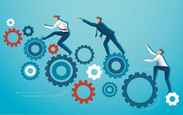 Pessoas de negócios, escalando a roda de engrenagem