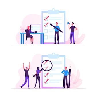 Pessoas de negócios estão na enorme área de transferência com marcas de preenchimento de lista de verificação por caneta pesquisando a solução e pensando uma nova ideia. ilustração plana dos desenhos animados