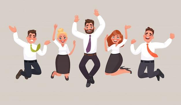 Pessoas de negócios estão pulando, comemorando a conquista da vitória. trabalhadores de escritório feliz