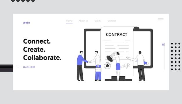 Pessoas de negócios fazem acordo de acordo com a página inicial