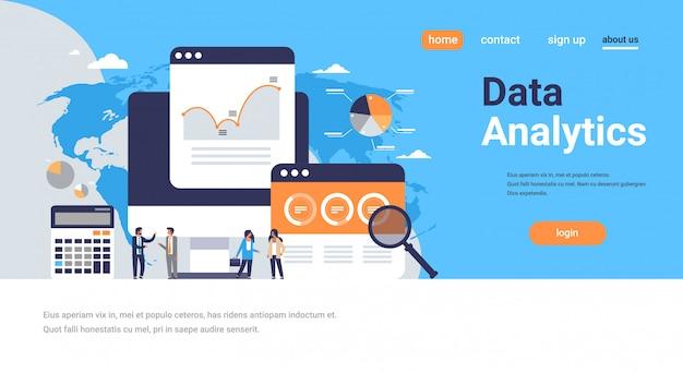 Pessoas de negócios gráfico diagrama finanças calculadora de análise de dados trabalhando juntos conceito de brainstorming sobre página de destino do mapa do mundo