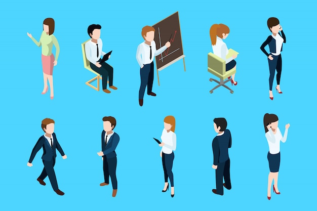 Pessoas de negócios isométrica em diferentes poses de ação