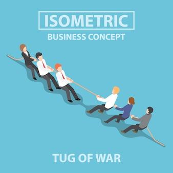 Pessoas de negócios isométrica jogando cabo de guerra
