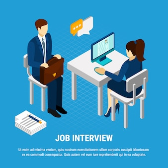Pessoas de negócios isométrica, personagens humanos de consultor de recrutamento e candidato a emprego com ilustração vetorial de texto editável