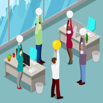 Pessoas de negócios isométricas. trabalhadores de escritório com lâmpadas. o homem teve uma ideia.