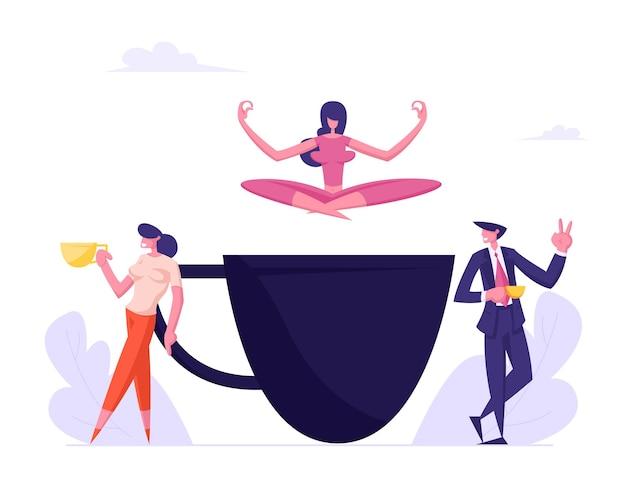 Pessoas de negócios na pausa para o café jovem relaxando na postura de lótus de ioga