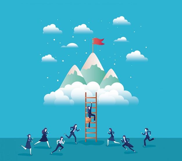 Pessoas de negócios nas montanhas com bandeira com escada