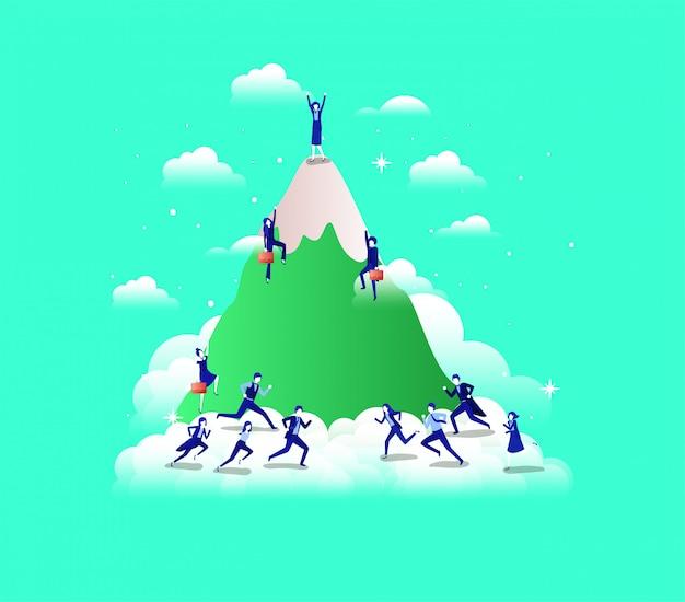 Pessoas de negócios nas montanhas
