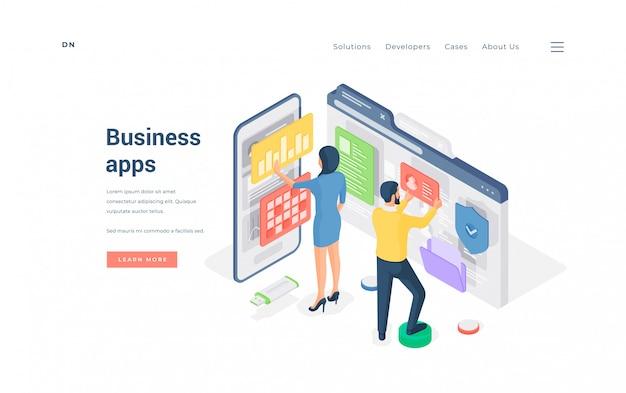 Pessoas de negócios navegando em aplicativos modernos. ilustração isométrica